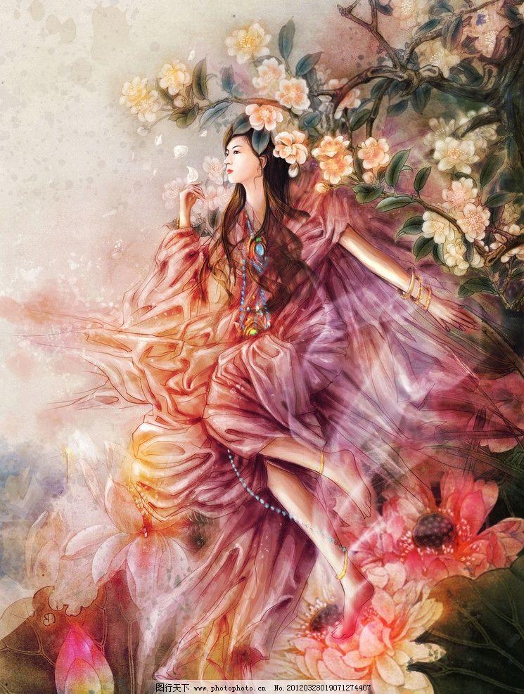 荷花 古典 女孩 梦幻 美女 古装 美丽 红色 花朵 手绘 cg 游戏 动漫人