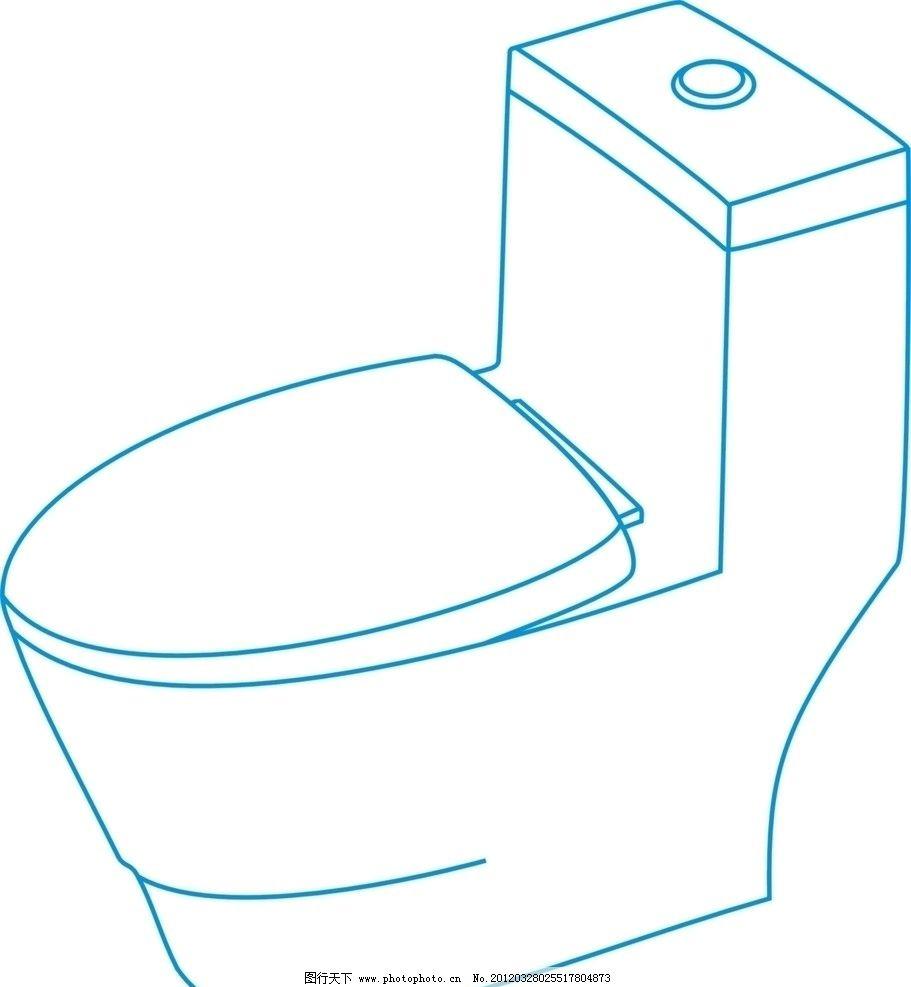 马桶线条图 座便器 马桶 矢量 描画 生活用品 生活百科 cdr