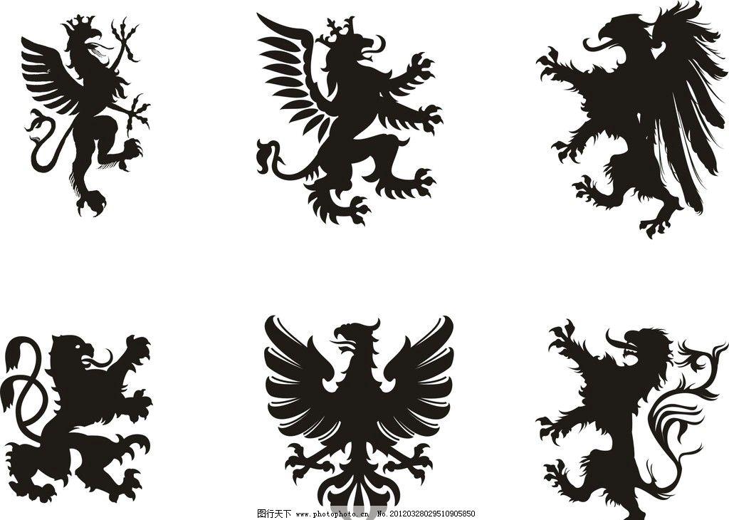 矢量狮子 服装男装设计素材 吊牌底纹 狮子矢量 英式图案 法式图形