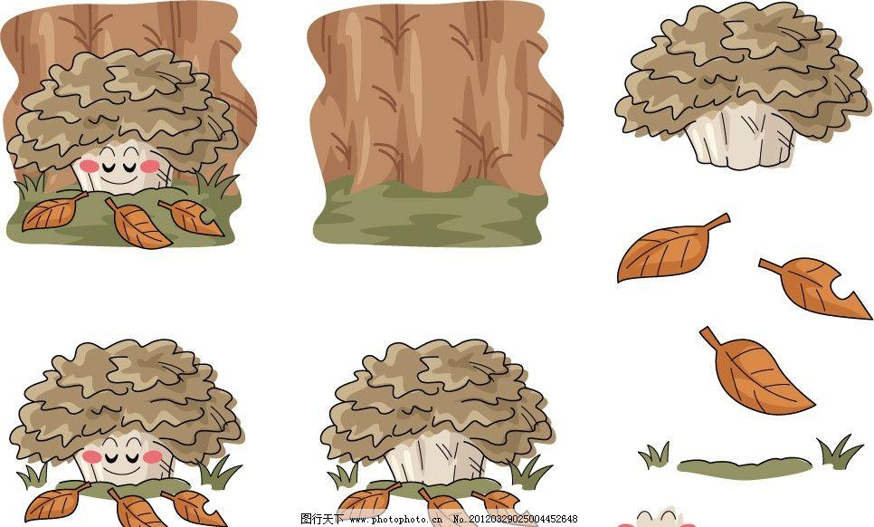 手绘蘑菇表情 蔬菜 蘑菇 菌类 手绘 插画 插图 q版 可爱 生长 落叶
