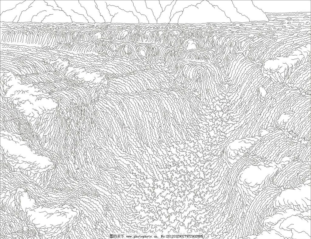 艺术玻璃矢量图 山水 风景 黄河 白描 花纹 背景墙 刻绘 上彩 屏风