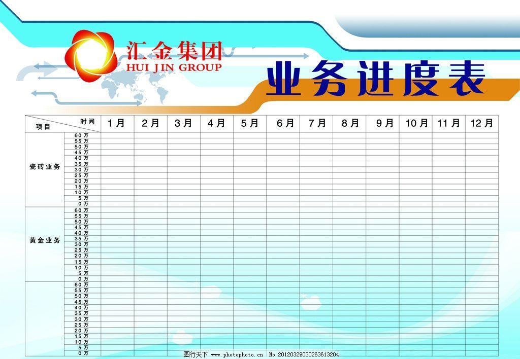 进度表 汇金集团 表格 展板模板 广告设计模板 源文件 100dpi psd