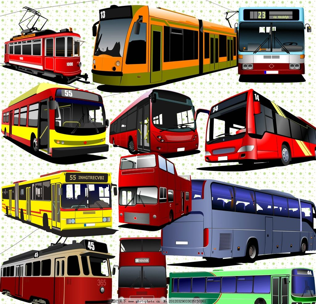 汽车集 公交车 巴士 卡通 源文件