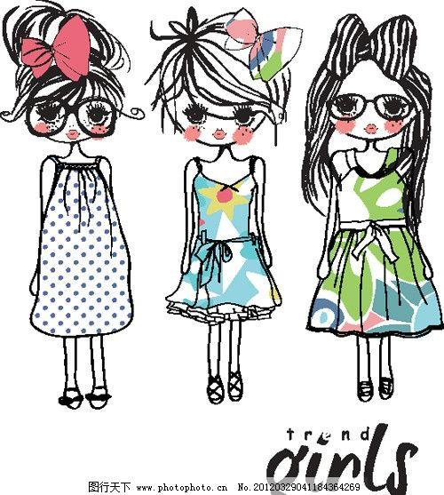 卡通女孩 线条 卡通 女孩 三个可爱的 蝴蝶结 戴眼镜 穿裙子 漂亮的