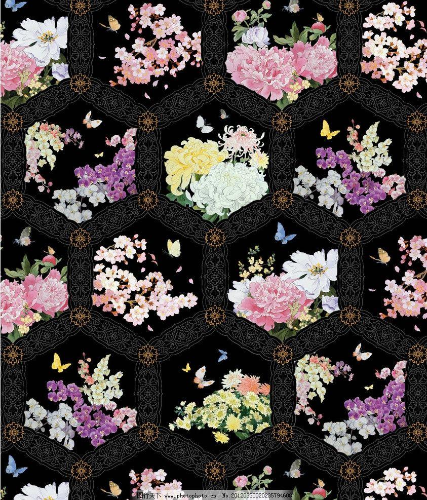 和服花纹 日本 樱花 蝴蝶