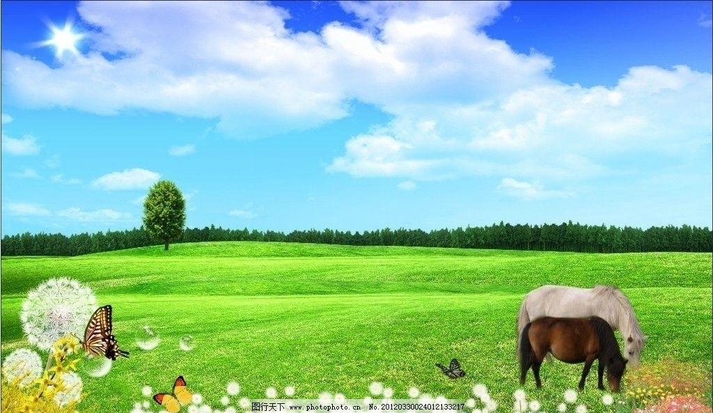 蓝天白云风景画 蓝天白云 白马 黑马 蝴蝶 花朵 小树 树林 草原 草坪