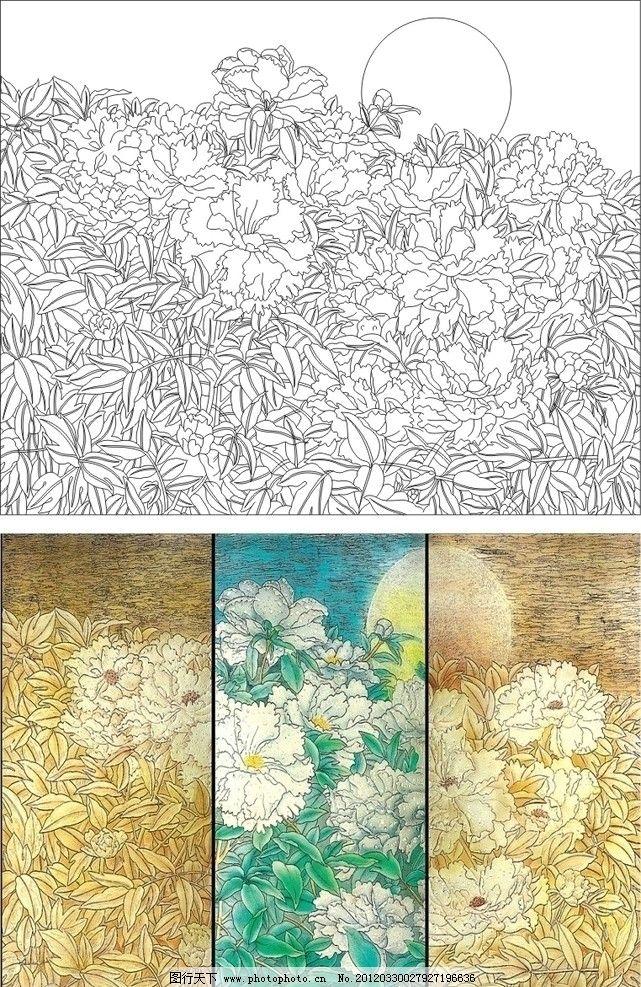 艺术玻璃矢量图 月亮 花 风景 山水 抽象画 花纹 背景墙 刻绘 上彩