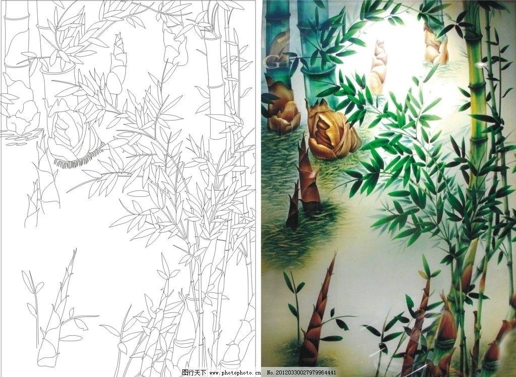 艺术玻璃矢量图 竹笋 竹 风景 山水 艺术玻璃图库 艺术玻璃 矢量 cdr