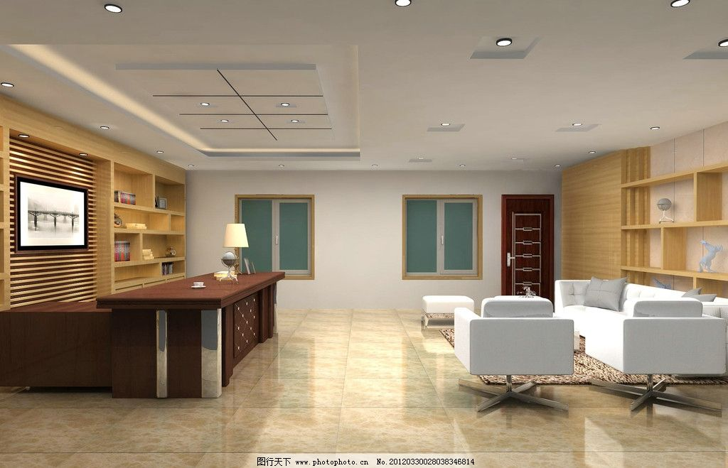 办公室 背景墙 吊顶 地砖 沙发 桌子 建筑设计 环境设计 设计 72dpi
