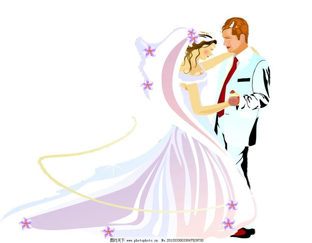 婚纱动漫 婚纱 动漫结婚 卡通情侣 婚礼 psd分层素材 源文件 350dpi