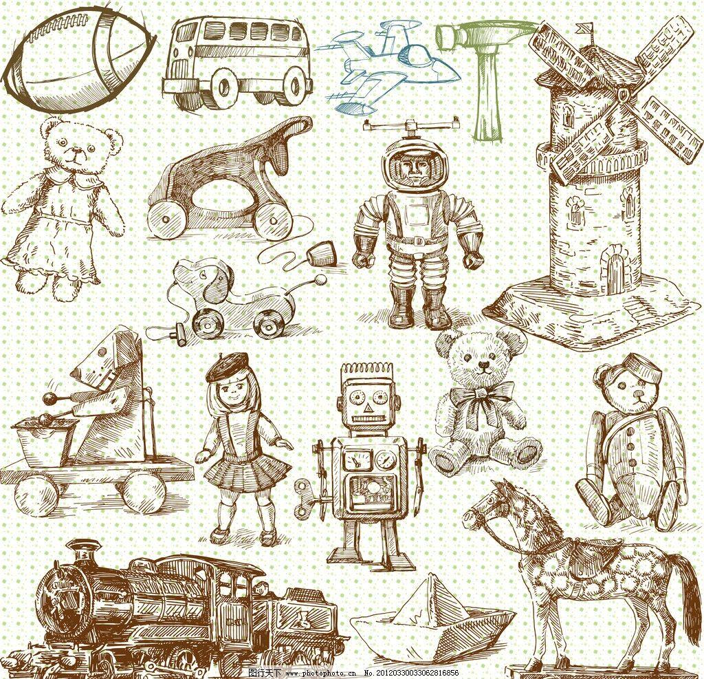 手绘儿童玩具 橄榄球 汽车