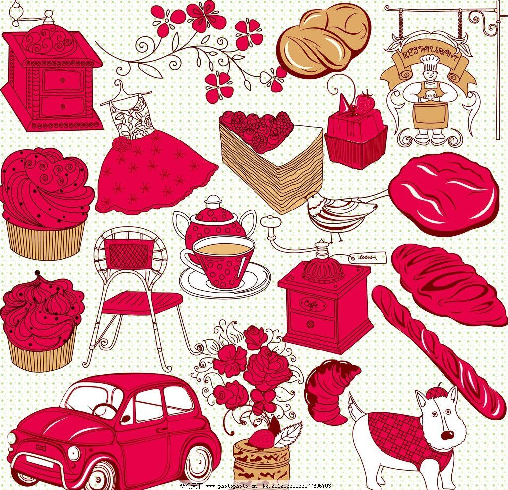 卡通红色物品图片