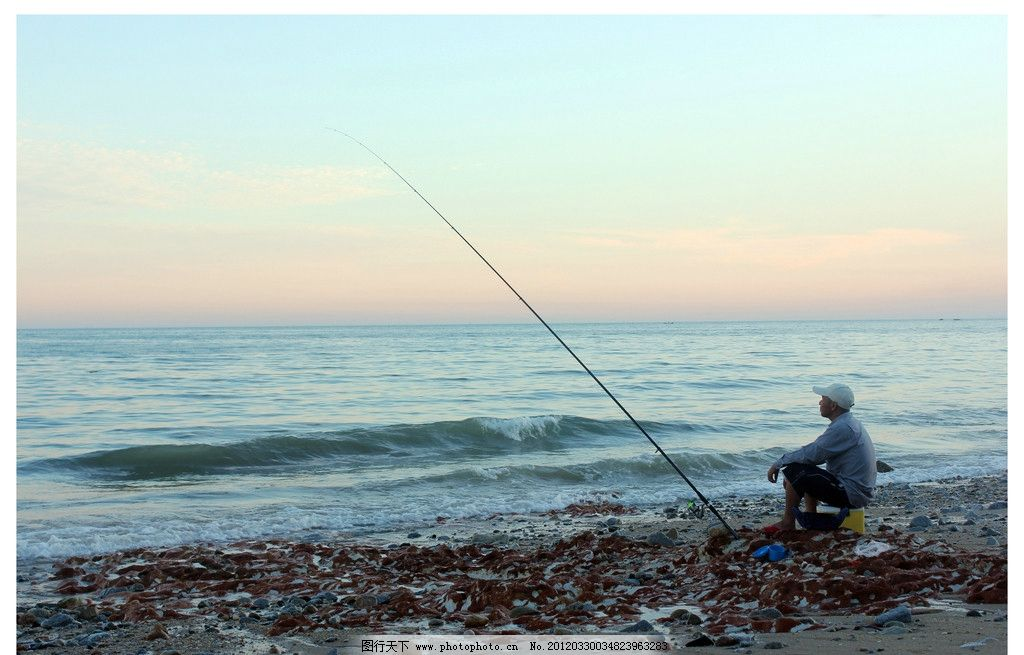 海滩钓鱼者 人物 摄影 风景 海边 自然风景 自然景观