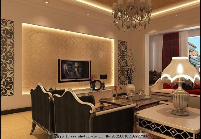 客厅 客厅图片免费下载 电视 欧式吊灯 沙发组合 石膏线 室内设计