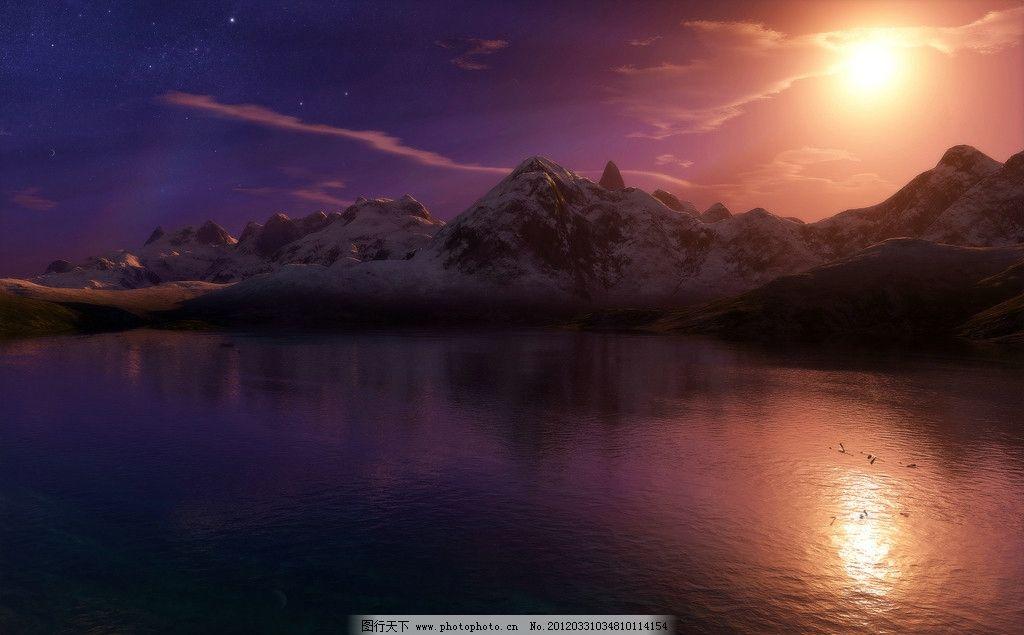 绝美hdr风光壁纸 美景 美丽 景色 景观 风景 太阳 山峰 高山