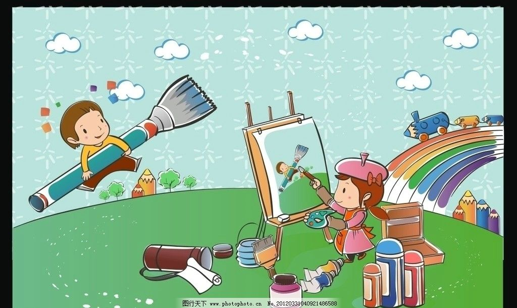 卡通背景 矢量儿童 矢量铅笔 书 画画 彩笔 彩虹 儿童幼儿 矢量人物